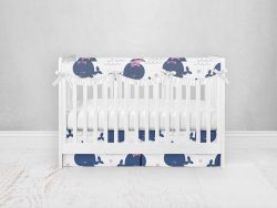 Bumperless Crib Set with Pleated Skirtand Scalloped Rail Covers - Happy Whale