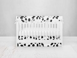 Bumperless Crib Set with Pleated Skirtand Scalloped Rail Covers - Spotted Dottie