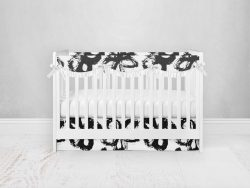 Bumperless Crib Set with Pleated Skirtand Scalloped Rail Covers - Fab Flower