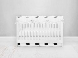 Bumperless Crib Set with Pleated Skirtand Scalloped Rail Covers - Checked