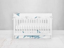 Bumperless Crib Set with Pleated Skirtand Scalloped Rail Covers - Sharky
