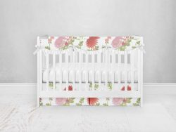 Bumperless Crib Set with Pleated Skirtand Scalloped Rail Covers - Bright Blooms