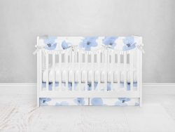 Bumperless Crib Set with Pleated Skirtand Scalloped Rail Covers - Blue Violet