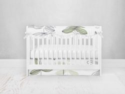 Bumperless Crib Set with Pleated Skirtand Scalloped Rail Covers - Growing Up Inked