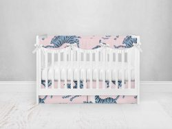 Bumperless Crib Set with Pleated Skirtand Scalloped Rail Covers - Blue & Pink Tigers