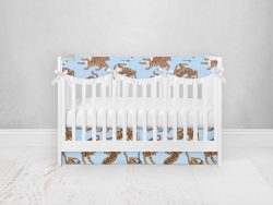 Bumperless Crib Set with Pleated Skirtand Scalloped Rail Covers - Blue & Yellow Tigers