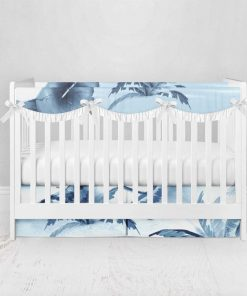 Bumperless Crib Set with Pleated Skirtand Scalloped Rail Covers - Island Dreams