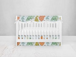 Bumperless Crib Set with Pleated Skirtand Scalloped Rail Covers - Camping