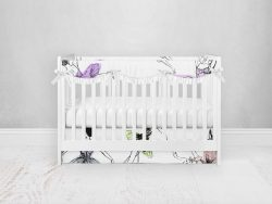 Bumperless Crib Set with Pleated Skirtand Scalloped Rail Covers - Dancer
