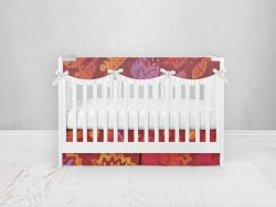 Bumperless Crib Set with Pleated Skirtand Scalloped Rail Covers - Bold Flower