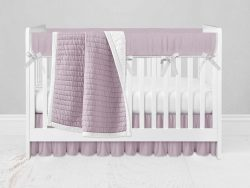 Bumperless Crib Set with Ruffle Skirt and Modern Rail Cover - Bright Pink