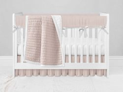 Bumperless Crib Set with Ruffle Skirt and Modern Rail Cover - Pink