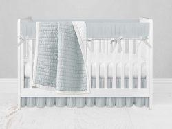 Bumperless Crib Set with Ruffle Skirt and Modern Rail Cover - Light Blue