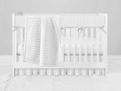 Bumperless Crib Set with Ruffle Skirt and Modern Rail Cover - White