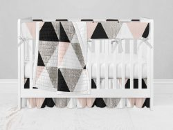 Bumperless Crib Set with Ruffle Skirt and Modern Rail Cover - Geo Check Pink