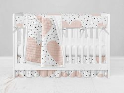 Bumperless Crib Set with Ruffle Skirt and Modern Rail Cover - Hearts and Dots