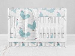 Bumperless Crib Set with Ruffle Skirt and Modern Rail Cover - Chicken Chick