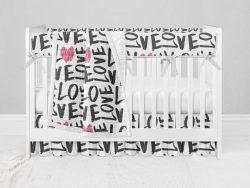 Bumperless Crib Set with Ruffle Skirt and Modern Rail Cover - Love Everywhere