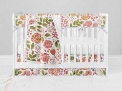 Bumperless Crib Set with Ruffle Skirt and Modern Rail Cover - Coral Flowers