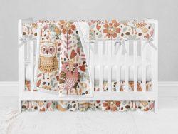 Bumperless Crib Set with Ruffle Skirt and Modern Rail Cover - Owl Folk