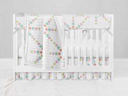 Bumperless Crib Set with Ruffle Skirt and Modern Rail Cover - Starlight