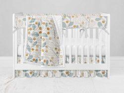 Bumperless Crib Set with Ruffle Skirt and Modern Rail Cover - Wall Flower