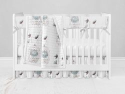 Bumperless Crib Set with Ruffle Skirt and Modern Rail Cover - Tweet Tweet