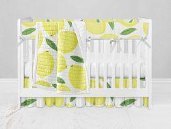 Bumperless Crib Set with Ruffle Skirt and Modern Rail Cover - Lively Lemons