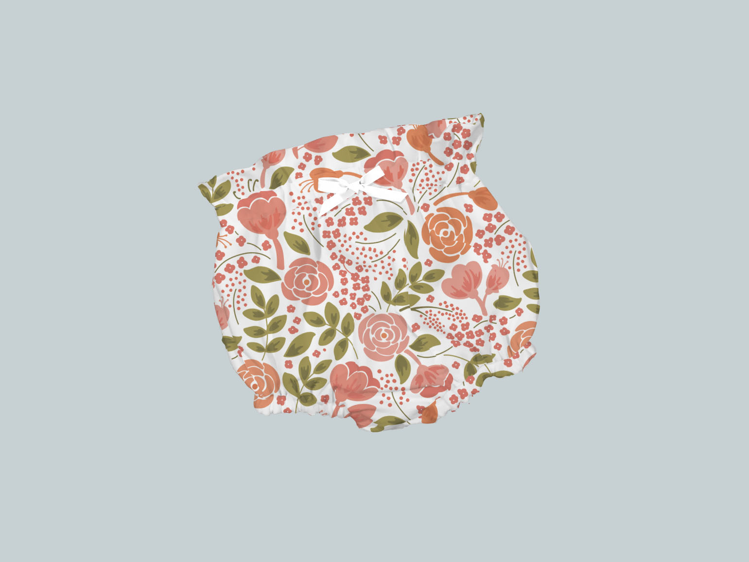 Bummies/High Waisted Bloomers - Coral Flowers