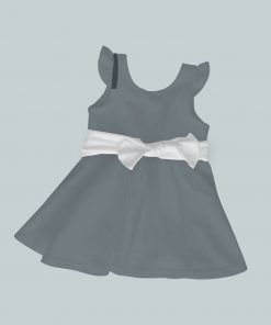 Dress with Ruffled Sleeves and Bow - Dark Gray
