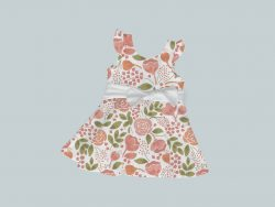 Dress with Ruffled Sleeves and Bow - Coral Flowers