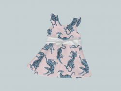 Dress with Ruffled Sleeves and Bow - Blue & Pink Tigers