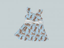 Dress with Ruffled Sleeves and Bow - Blue & Yellow Tigers
