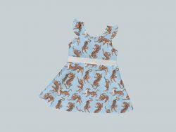 DressTankRuffleRibbon - Blue & Yellow Tigers
