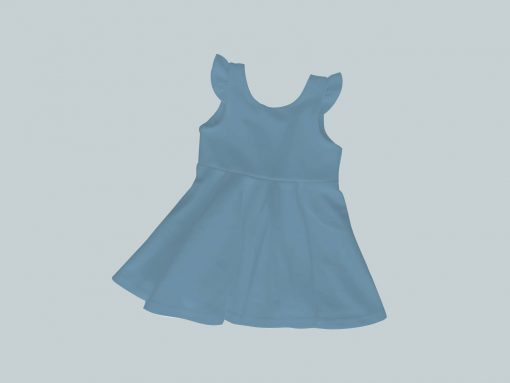 Dress with Ruffled Sleeves - Bright Blue