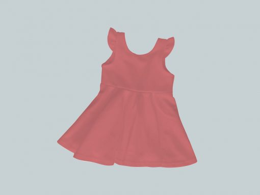 Dress with Ruffled Sleeves - Coral