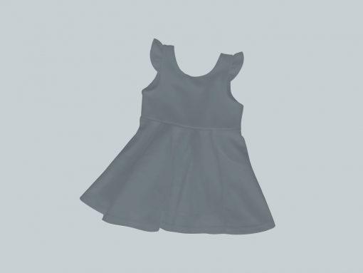 Dress with Ruffled Sleeves - Dark Gray