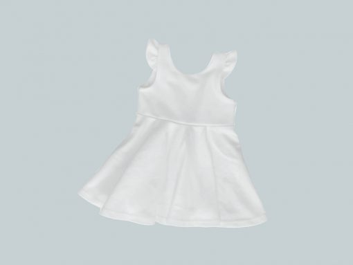 Dress with Ruffled Sleeves - White