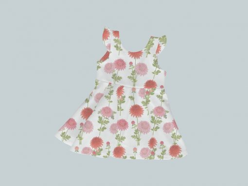 Dress with Ruffled Sleeves - Bright Blooms