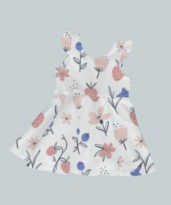 Dress with Ruffled Sleeves - Abstract Flowers & Berries