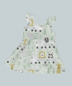 Dress with Ruffled Sleeves - Animal Train