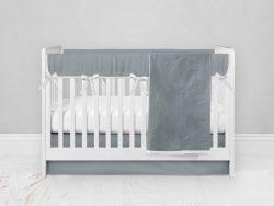 Bumperless Crib Set with Modern Skirt and Modern Rail Covers - Gray Green