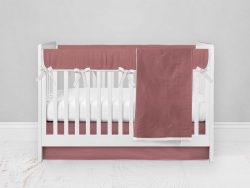 Bumperless Crib Set with Modern Skirt and Modern Rail Covers - Rose