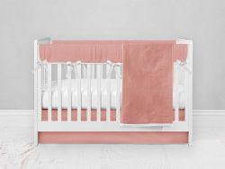 Bumperless Crib Set with Modern Skirt and Modern Rail Covers - Peach