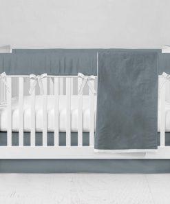 Bumperless Crib Set with Modern Skirt and Modern Rail Covers - Dark Gray