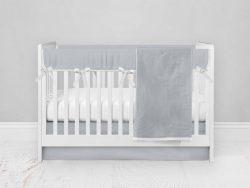 Bumperless Crib Set with Modern Skirt and Modern Rail Covers - Light Gray