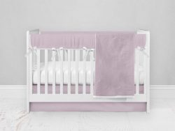 Bumperless Crib Set with Modern Skirt and Modern Rail Covers - Bright Pink