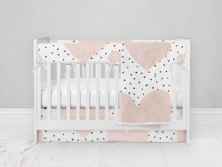 Bumperless Crib Set with Modern Skirt and Modern Rail Covers - Hearts and Dots