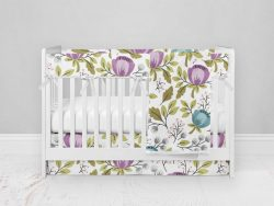 Bumperless Crib Set with Modern Skirt and Modern Rail Covers - Floral Teal Purple