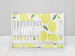Bumperless Crib Set with Modern Skirt and Modern Rail Covers - Lively Lemons